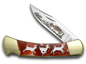 Buck 110 Custom Fire Feathers Corelon Running Deer 1/400 Pocket Knife Knives