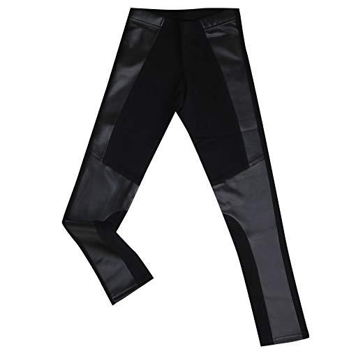 SANGIACOMO WE LOVE SOCKS Mädchen Leggings aus Baumwolle mit Ledereinsätzen - Schwarz - TG.11/12 - H.146/160