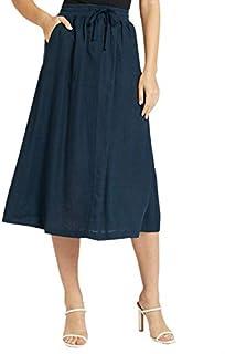 Splash Solid Drawstring Elastic Waist Side-Pocket Midi Skirt for Women