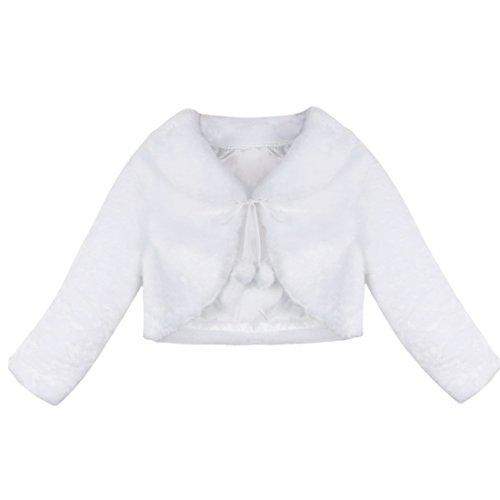 TiaoBug Kinder Mädchen Pelz Bolero Langarm Schulterjacke Strick Jacke Winter Mantel Weste Jacke Shirt Top Bolero Weiß 80-86