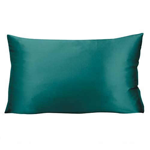 KLAS REMO Funda de almohada de seda de 50 x 75 cm, protector de almohada, fundas de almohada tamaño King Size fundas de almohada para cabello y piel, antiedad, anti chinches (verde azulado oscuro)