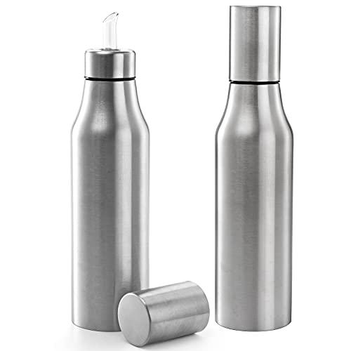 Foraineam 2 Pieces Olive Oil Dispenser Bottle 30 oz (900ml) Stainless Steel Leakproof Kitchen Oil Bottles