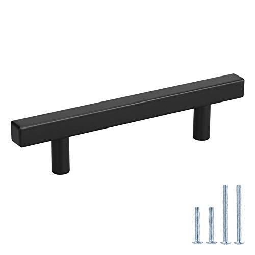 3.5 Drawer Handles Black Kitchen Cabinet Handles Black 10 Pack - Peaha PHJ22BK 90mm Drawer Pulls Bathroom Cabinet Hardware for Desk, Wardrobe, Bedroom