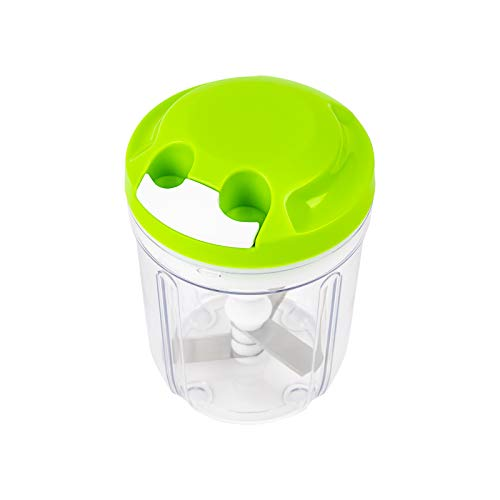 Manual Food Chopper, Portable Manual Food Processor,Hand Chopper with Egg Beater, Speedy Easy Pull Hand Held Chopper for Vegetables/Meat/Fruits (730ML) (Green)