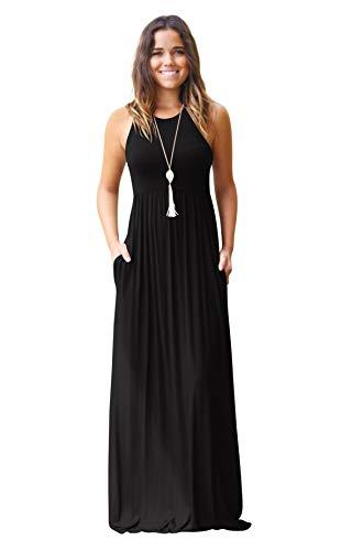 Hmeng - Vestido largo sin mangas y con bolsillos para mujer. Vestido de fiesta largo, estampado liso negro negro S