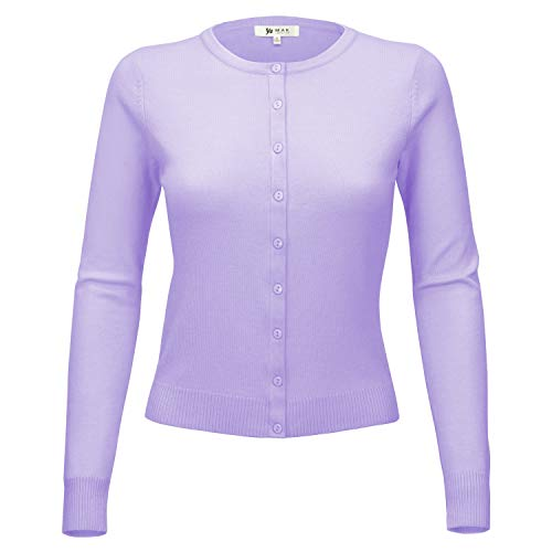 YEMAK Women's Knit Cardigan Sweater – Long Sleeve Crewneck Basic Classic Casual Button Down Soft Lightweight Knitted Top MK0179-LIL-S Lilac