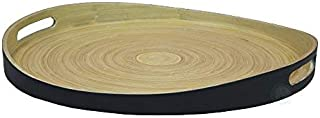 """Large Round Bamboo Serving Tray, 16"""" Dia Breakfast Tray"""