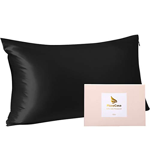 PiccoCasa Silk Pillowcase for Hair Skin 22momme Pillow with Zip Black 40x80cm