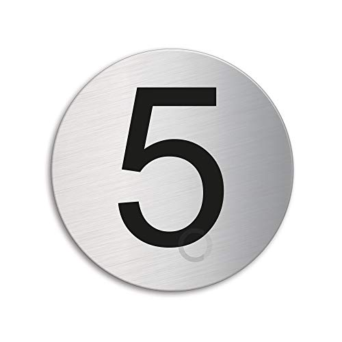 Plaque Numéro de porte 5 | Ø 75 mm autocollant | acier inox brossé 39075