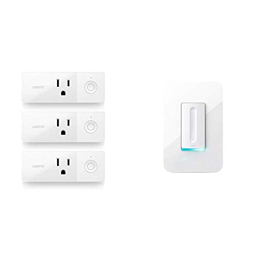 Wemo Mini Smart Plug Bundle with WeMo Dimmer WiFi Light Switch, Compatible with Alexa, The Google Assistant and Apple Homekit (F7C059)