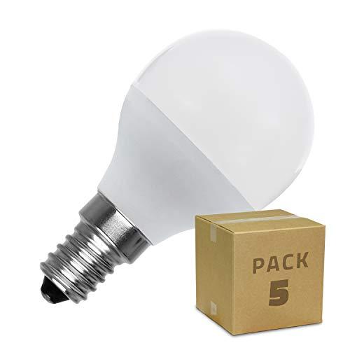 LEDKIA LIGHTING Pack Bombillas LED E14 Casquillo Fino G45 5W (5 un) Blanco Frío 6000K - 6500K
