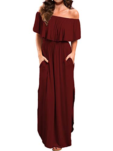 VERABENDI Women's Off Shoulder Summer Casual Long Ruffle Beach Maxi Dress with Pockets Burgundy Large