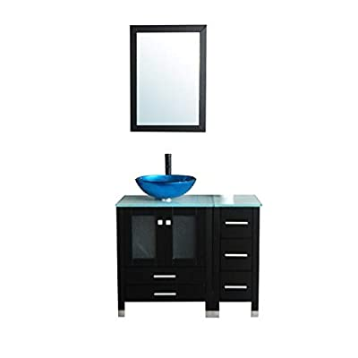 """Walcut 36"""" Bathroom Vanity and Sink Combo - MDF Wood Cabinet and Glass Vessel Sink and Faucet Combo (1)"""