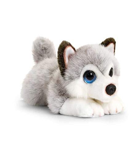 Keel Toys Cachorros de Peluche (25 cm), Color Gris, Blanco (