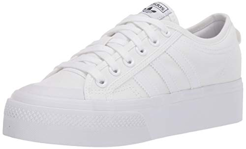 adidas Originals Zapatillas de plataforma Nizza para mujer, blanco (Blanco/blanco/blanco), 35 EU