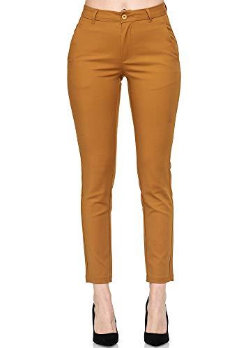 Elara Pantaloni da Donna Chino Elasticizzati Chunkyrayan Cammello A160-2 Camel-40 (L)