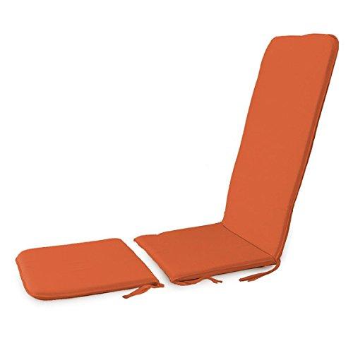 Morbidissimi Cuscino per Sedia a Sdraio da Giardino con prolunga Unito MOD. Topazio P501 Arancione