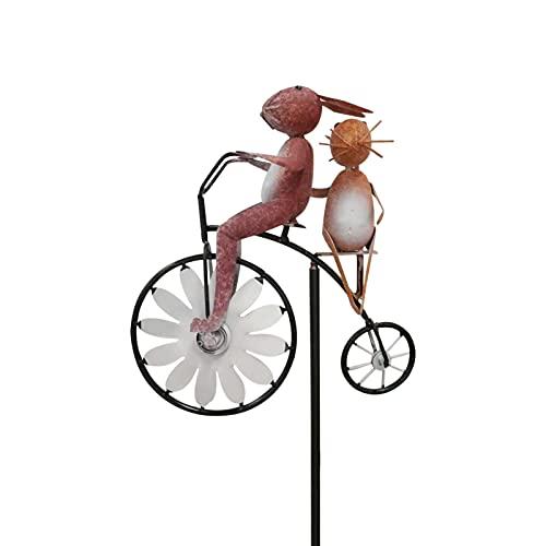 Oddity Metal Wind Spinner Garden Animal Bike Windmill Divertidas esculturas de jardín Estatuas Simulación Artificial Animal Decor Stakes para jardín Yard Stunning Premium