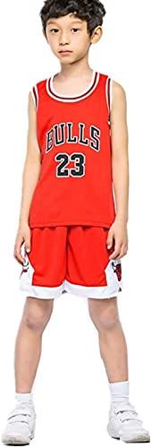 YL JIARO Kinder Herren Basketball Trikots Set - Bulls Jordan 23, Lakers 23 James, Warriors 30 Curry Basketball Jersey Uniform: Mesh Weste Shirt + Sommershorts (Bull red,XXXS for Kids)