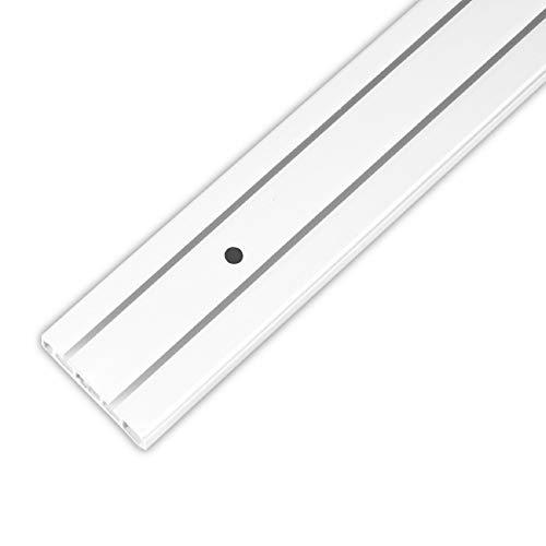 Bestlivings Gardinenschiene bis 480cm Länge, 1 bis 3 Lauf (300 cm / 2 Lauf), inkl. Zubehör. Für Schiebevorhang oder Kräuselband Gardinen