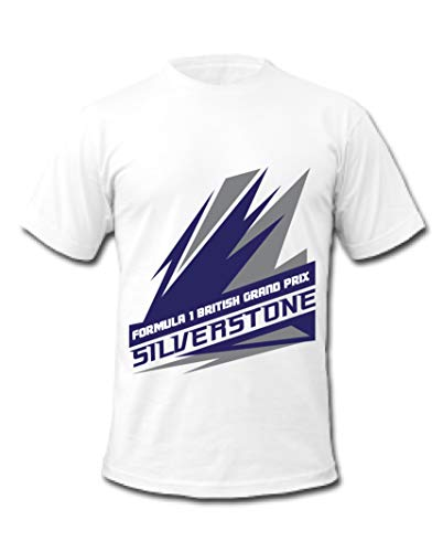 Cold Gun F1 Silverstone British Grand Prix Union Jack Flagge Formel 1 Racing T-Shirt Gr. S, weiß