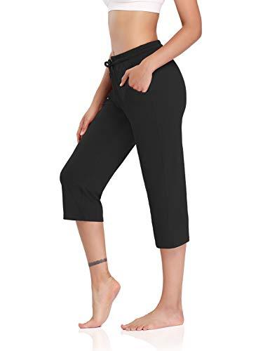 DIBAOLONG Womens Yoga Pants Capri Wide Leg Comfy Drawstring Loose Lounge Workout Pants with Pockets Black M