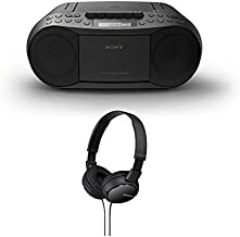 Sony Stereo CD/Cassette Boombox Home Audio Radio (Black) with Sony ZX110 Over-Ear Dynamic Stereo Headphones (Black) Bundle (2 Items)
