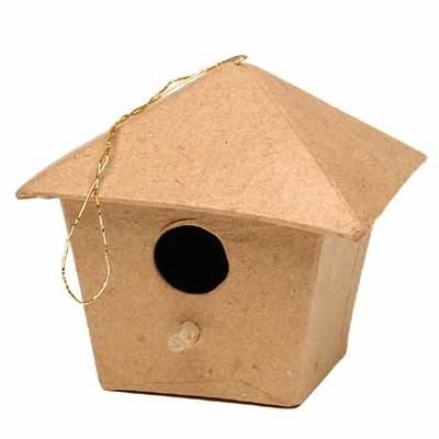 Group of 12 Unfinished Paper Mache Birdhouse Ornaments for Kids Crafting, Creating and Holiday Decor