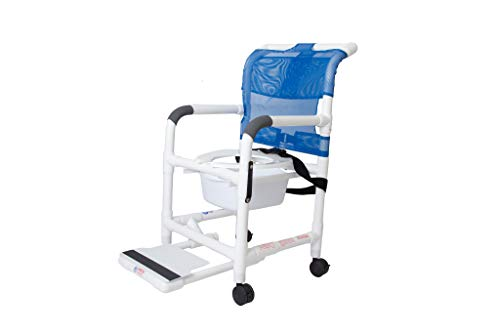 Rolling Shower Chair with Drop Arms, Mesh Seat, Locking Casters, Seat Belt, Slide Out Footrest and Commode Pail. 300 lb. Capacity, Fits Over Standard Toilet.