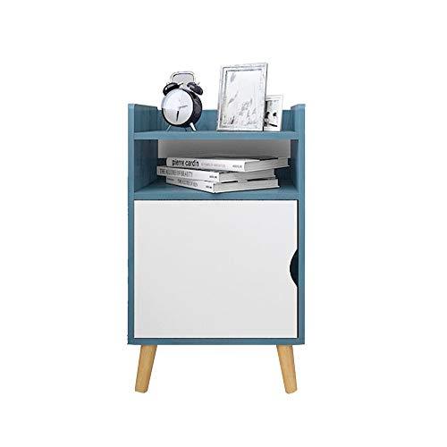 Desk Xiaolin Comodino Armadietto Laterale Tavolo D'angolo Legno Tavolino Con La Porta Dell'armadio 17,7 X 9,4 X 22,4 Pollici (Farbe : Blau)