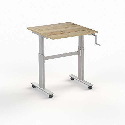 Worktrainer Kleiner Sitz-Steh-Schreibtisch SteelForce 100 - Handkurbel und Rollen (Silber/Eiche Natur 120 x 80cm)