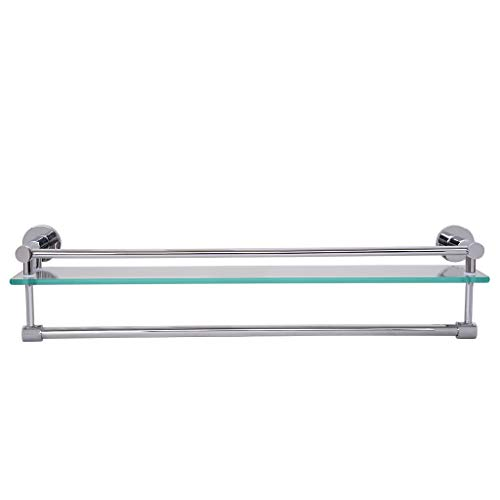 23.6x4.7x5.12 in Thick Tempered Glass Bathroom Shelf with Towel Bar Wall Mounted...