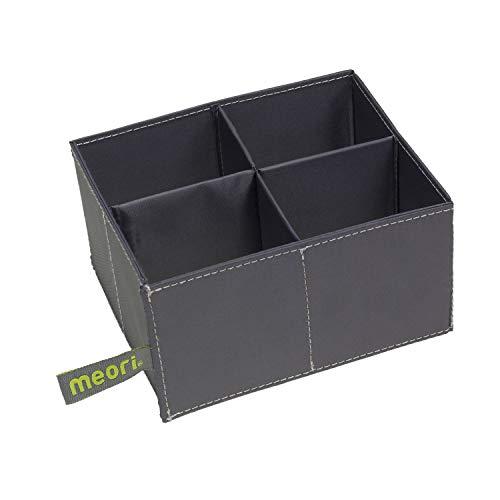 meori 4er Einsatz für Mini Faltboxen Grau abwischbar Ordnung Schreibtisch Stifte Kosmetik Bastelmaterial stabil Schmuck