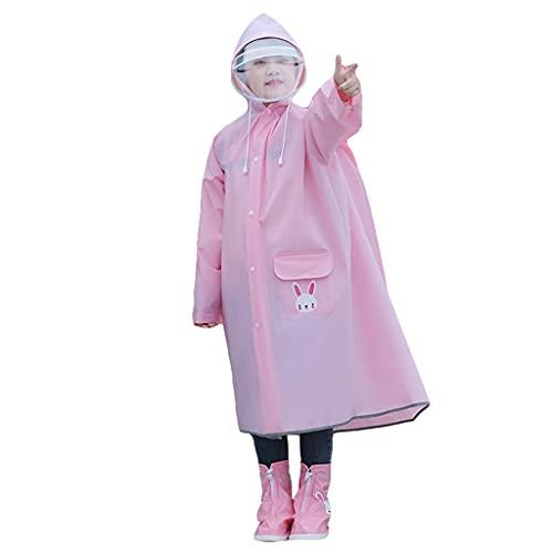 YQQMC Impermeable impermeable para niños con bolsa escolar poncho de lluvia con rayas reflectantes para charcos (color rosa, tamaño: 3XL)