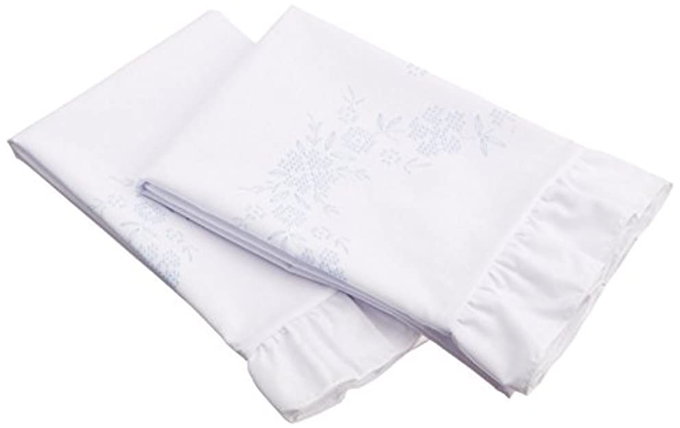 Fairway Stamped Lace Edge Pillowcase, 30 by 20-Inch, Cross Stitch Flower, 2-Pack