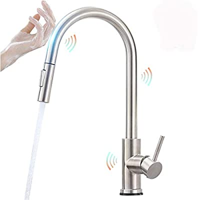 Touch On Kitchen Faucets with Pull Down Sprayer, Single Handle Smart Kitchen Sink Faucet with Pull Out Sprayer, Spot Resist Stainless Touch Activated Faucet Brushed Nickel