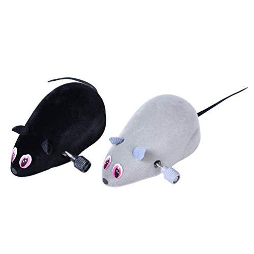 Amosfun 2 stücke plsh Maus Wind up Spielzeug interaktive katzenspielzeug cat Chaser Spielzeug Halloween Gag Spielzeug Halloween Party Requisiten (schwarz grau)