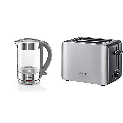 Bosch TWK7090B kabelloser Wasserkocher, Abschaltautomatik, Überhitzungsschutz, hitzebeständiges Glas, 1,5 L, 2200 W, Edelstahl & TAT6A913 ComfortLine Kompakt-Toaster, 1090 W, Edelstahl