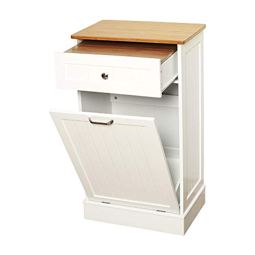 Tilt Out Trash Cabinet Can Bin Kitchen Wooden Trash Can Free Standing Holder Recycling Cabinet with Hideaway Drawer Wooden Removable Bamboo Cutting Board Trash Holder White