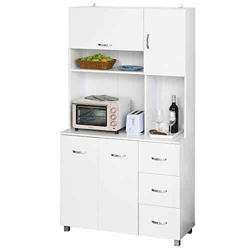 Armoire de cuisine multi-rangements 4 portes 3 tiroirs étagère + grand plateau 100L x 39l x 183H cm MDF blanc