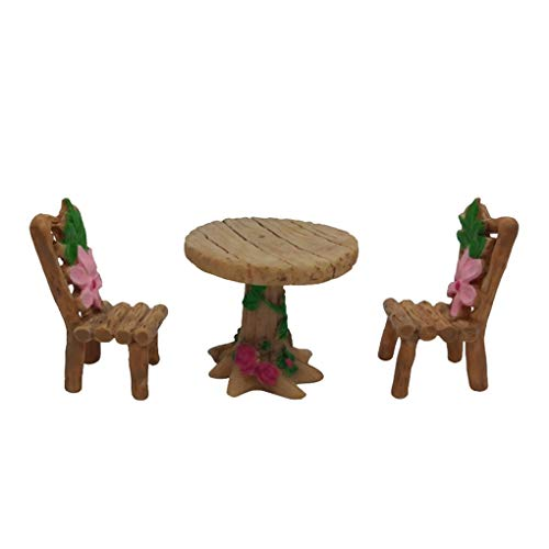ben-gi Silla Silla Tabla de Resina Mini Juego de Muebles de jardín Mesas de jardín Micro Paisaje en Miniatura Musgo Ornamento Muebles