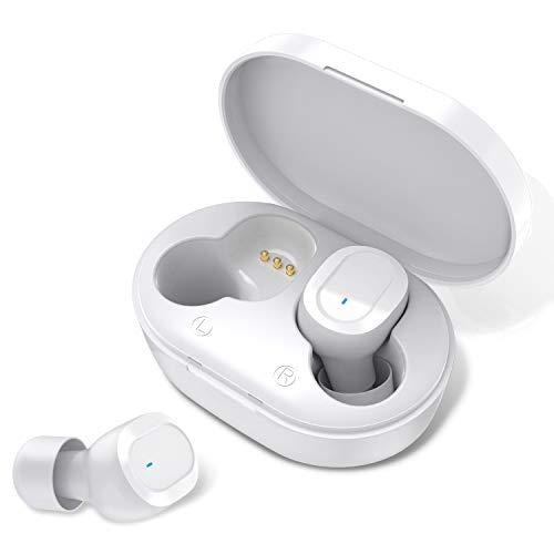 HolyHigh Bluetooth Kopfhörer Kabellos in Ear Ohrhörer Wireless Kopfhörer Bluetooth 5.0 Sport Leicht Stereo Hi-Fi Wasserdicht mit Mikrofon für iOS Android Männer Frauen Kinder(Weiß)