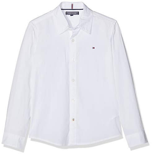 Tommy Hilfiger Jungen Boys Solid Stretch Poplin Shirt L/S Hemd, Weiß (Bright White 123), 164 (Herstellergröße: 14)