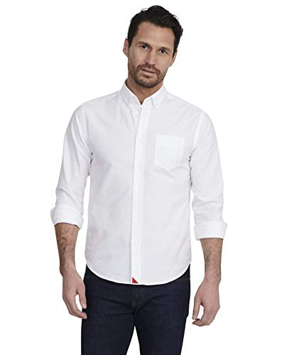 UNTUCKit Russian River - Untucked Shirt for Men Long Sleeve, White Oxford, Large Regular Fit