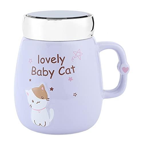 YIFengFurun Kaffekopp, katt speglad stor kapacitet keramisk vattenkopp med lock, för iskallt eller varmt dricka hemma 500 ml (lila)