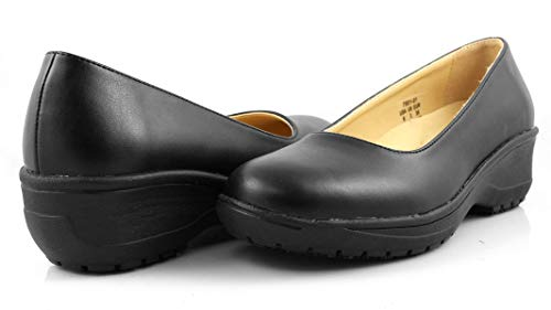 Laforst Darling Manmade Upper Slip Resistant Waitress Server Fashion Slip On Shoes Black 6