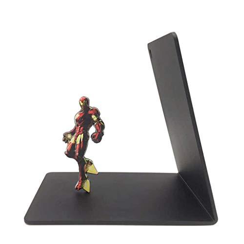 YBYB Buchstützen Buchhalterung Bookends Kreative Marvel Iron Man Buch Ends Studentenbuchablage Heavy Duty Metall Bookend Schule Office Home-Dekoration-Geschenk Buchständer (Color : Black)