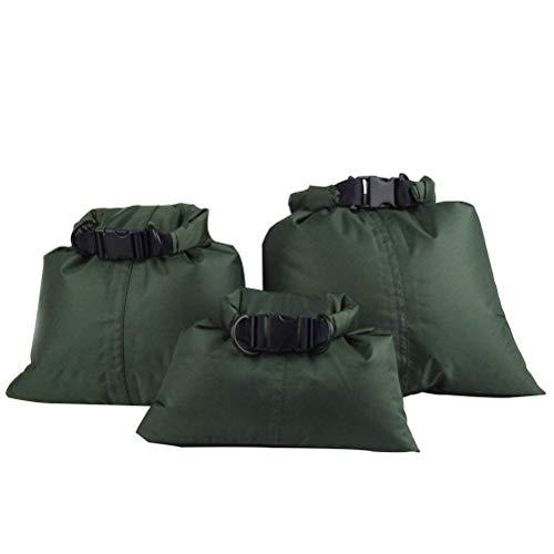 UEETEK 3 Stück / Set Wasserdichte Trockenbeutel,Ultra-light Nylon Packsacks für Camping Bootfahren Kajakfahren Rafting Angeln, ideal zum Speichern von Mobiltelefonen, Kamera, Schuhe, Armeegrün,(1,5 L + 2,5 L + 3,5 L) - 4