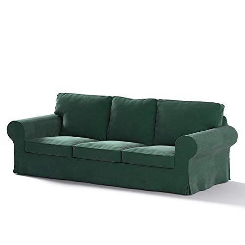 Dekoria Ektorp 3-Sitzer Sofabezug Nicht ausklappbar Sofahusse passend für IKEA Modell Ektorp dunkelgrün