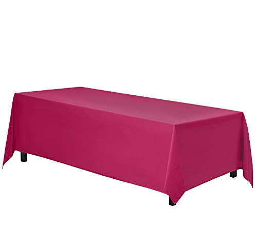 Gee Di Moda Rectangle Tablecloth - 90 x 132 Inch - Fuchsia Rectangular Table Cloth for 6 Foot Table in Washable Polyester - Great for Buffet Table, Parties, Holiday Dinner, Wedding & More